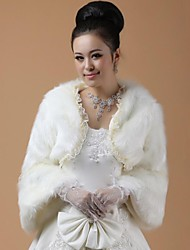 Fur Wraps / Wedding  Wraps Coats/Jackets Long Sleeve Faux Fur White Wedding Feathers / fur
