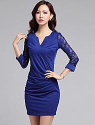 Women's Lace Blue/Red Dress , Bodycon/Lace/Work Deep V ¾ Sleeve