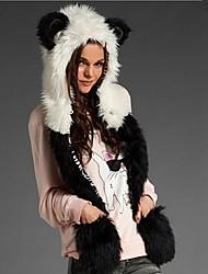 Women's Panda Gloves Integration Fur Hat