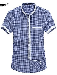 Lesmart® Men's Small Multicolor Plaid Short-sleeved Shirt
