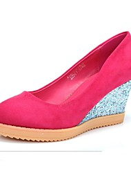 Women's Shoes Round Toe Wedge Heel Pumps Shoes