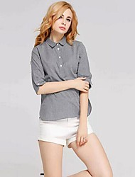 Women's Solid Gray Blouse , Shirt Collar Long Sleeve