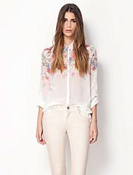 um floral impressão lapela camisa de manga longa Belard chiffon