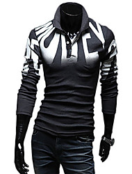 Uyuk Men's Casual Dark Gray Stand Ncek Floral Print Long Sleeve T Shirt