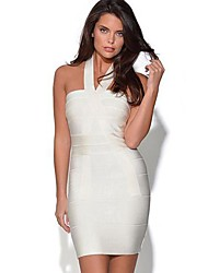 Women's Party/Cocktail Bodycon Dress,Solid Halter Above Knee Sleeveless White Polyester Summer / Fall