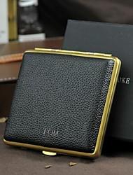 cigarette de grille personnalisée cuivre pur ultra-mince boîtier en or en cuir aimant de bâton de cigarette atténué (20)
