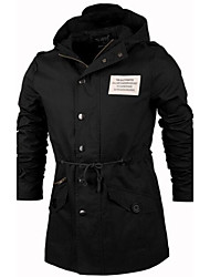 Hongda  Men's Korean Style Slim-Fitting Middle Long Jacket