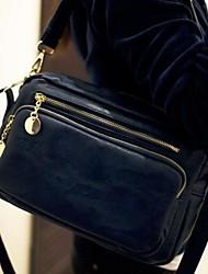 Women PU Casual Shoulder Bag Blue / Black