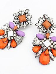 Women's Fancy Beaded Luxurious Flower Drops Stud Earrings