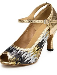 Non Customizable Women's Dance Shoes Latin Synthetic Stiletto Heel Gold/Multi-color