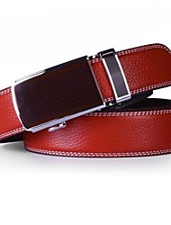 Men's Genuine Leather Belt Red Automatic Buckle Cintos Belts
