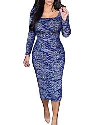 quadrada vestido pescoço, spandex / nylon bodycon / partido do vintage das mulheres