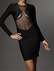 Beauty Fashion Long Sleeve Mesh Insert Bodycon Bandage Dress Sexy Fitted Mini Club Dress 4034