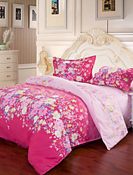 Mingjie® Red Flowers Queen and Twin Size Sanding Bedding Sets 4pcs for Boys and Girls Bed Linen China Wholesale