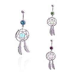 Lureme®Fashion 316L Surgical Titanium Steel Crystals Dreamcatcher Feathers Shape Pendant Navel Ring