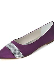 Women's Spring Summer Fall Winter Satin Wedding Party & Evening Flat Heel Black Blue Pink Purple Red Ivory White Silver