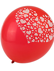 Extra Large Size Red Thick Heart Broken Round Balloons--Set of 24