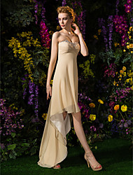 Lanting Bride® Asymmetrical Georgette Bridesmaid Dress A-line Sweetheart Plus Size / Petite with Beading / Criss Cross / Ruching