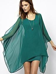 gasa vestidos de cuello redondo de color sólido de las mujeres DMI ™