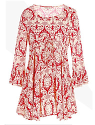 Mufans Women's Round Collar Floral Print Shirt 1453#