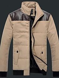 мужская плечо с кожаными пальто хлопка