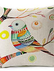 pássaro algodão multicolor / linho fronha decorativo