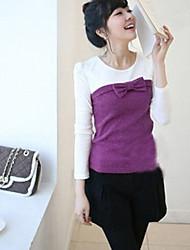 bowknot doce cor embelezado correspondência mangas compridas t-shirt roxo