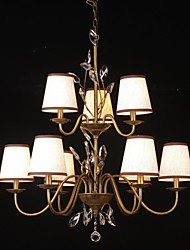 Vintage Chandelier, 9 Light, Classic Fabric Metal Painting