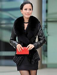 coko abrigo de imitación piel de cuello grande de la piel patio