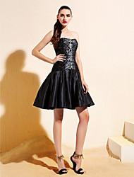 Cocktail Party Dress Plus Size / Petite A-line / Princess Strapless Knee-length Taffeta with Sequins