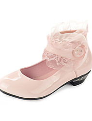 Girls' Shoes Casual Leatherette Heels Spring / Fall Heels Chunky Heel Black / Pink