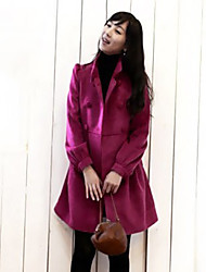 Stand Collar Double Breasted Long Puff Coat