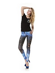 Women's The Milky Way Blue Printed Polyester Leggings