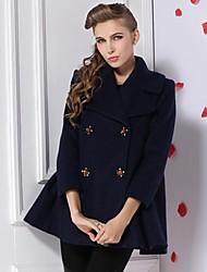 Women's Blue Winter Coat Thick Wool Blends Outwears