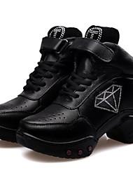diamantes de imitación de cuero real zapatos de baile transpirable bajo talón de zapatillas de baile de las mujeres