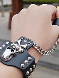 crâne de la mode hip-hop en cuir de la chaîne bracelet avec anneau