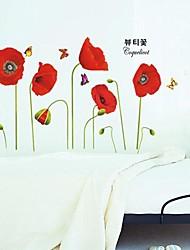 одиссеи настенные ™ наклейки наклейки для стен, Ремонт Мода красные цветы мака ПВХ стены стикеры.