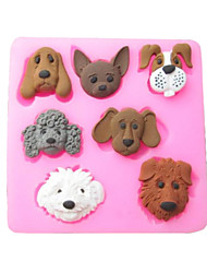 Seven Carton Dogs Baking Fondant Cake Choclate Candy Mold,L7.2cm*W7.1cm*H1cm