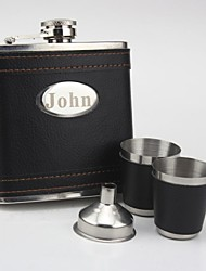 Personalized Stainless Steel  Black  Flask 6-ozGift Set