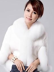 Women Rex Rabbit Fur Outerwear/Shawl & Wrap