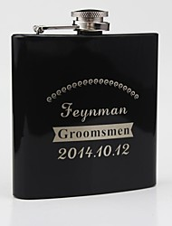 Personalized Black Stainless Steel 6-oz Flask -KP1047