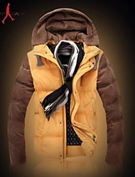MANWAN WALK®Men's Thick Warm Down Jacket.Casual Slim Patchwork Hooded Cotton-padded Coat.Size L-3XL!