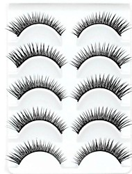 New 5 Pairs Natural Looking Black Long Thick False Eyelashes Eyelash Eye Lashes for Eye Extensions