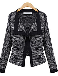BING Women's Solid Color White / Black Coats & Jackets , Bodycon / Casual / Party / Work Wide Neck Long Sleeve