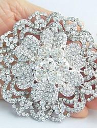 החתונה פרח הקריסטל דמוי יהלום כסף טון סגסוגת האופנתית של הנשים סיכת כלה
