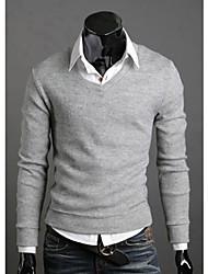 quteng Männer einfarbig v nevk Pullover