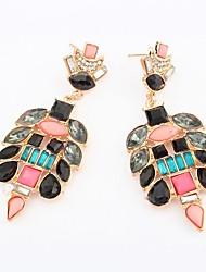 Women's Fancy Geometric Beads Cluster Flower Drops Stud Earrings