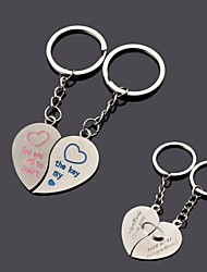 Personalized Engraving  Heart  Metal Couple Keychain