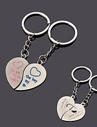 coração gravura de metal personalizado casal chaveiro