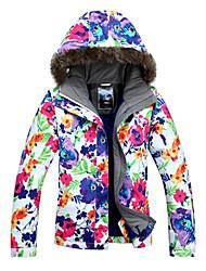 gsou neve ao ar livre padrão de flor vívida à prova de vento jaqueta de esqui das mulheres
